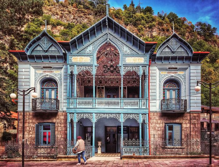 Borjomi, Georgia Architecture Outdoors Traveling History Georgia Arches Scenics Scenery Frame Landscape Borjomi Borjomi Central (Historical) Park Building Exterior Façade Built Structure Day One Person Window One Man Only Blue
