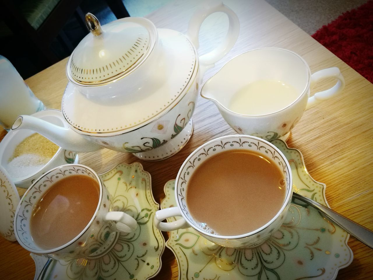 Teapot Tea For Two Earl Grey Tea Time Tea - Hot Drink High Angle View Table Indoors  No People Day English Breakfast Tea English Breakfast Relaxing Happy Simple Pleasures Bone China Fine China TeaCup Cup And Saucer Lieblingsteil