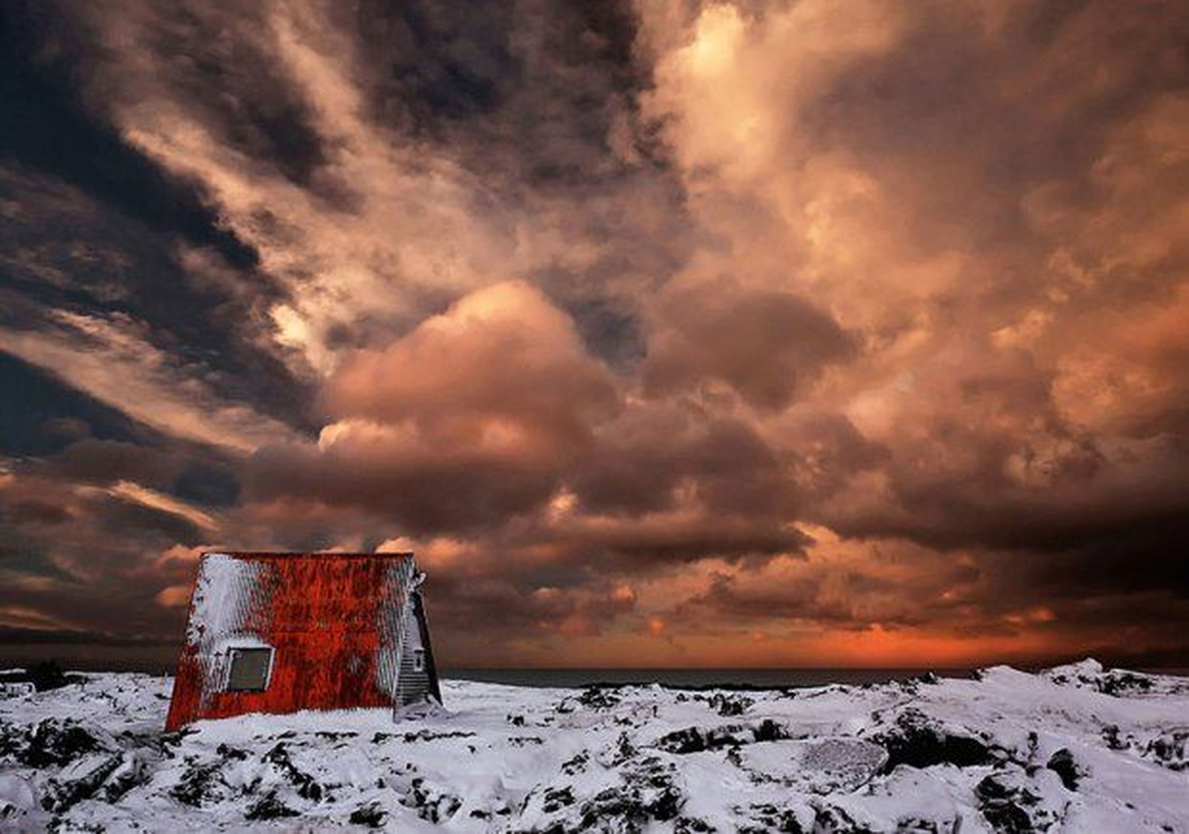snow, winter, cold temperature, weather, season, sky, sunset, scenics, cloud - sky, tranquility, tranquil scene, covering, beauty in nature, landscape, nature, cloudy, frozen, orange color, dramatic sky, idyllic