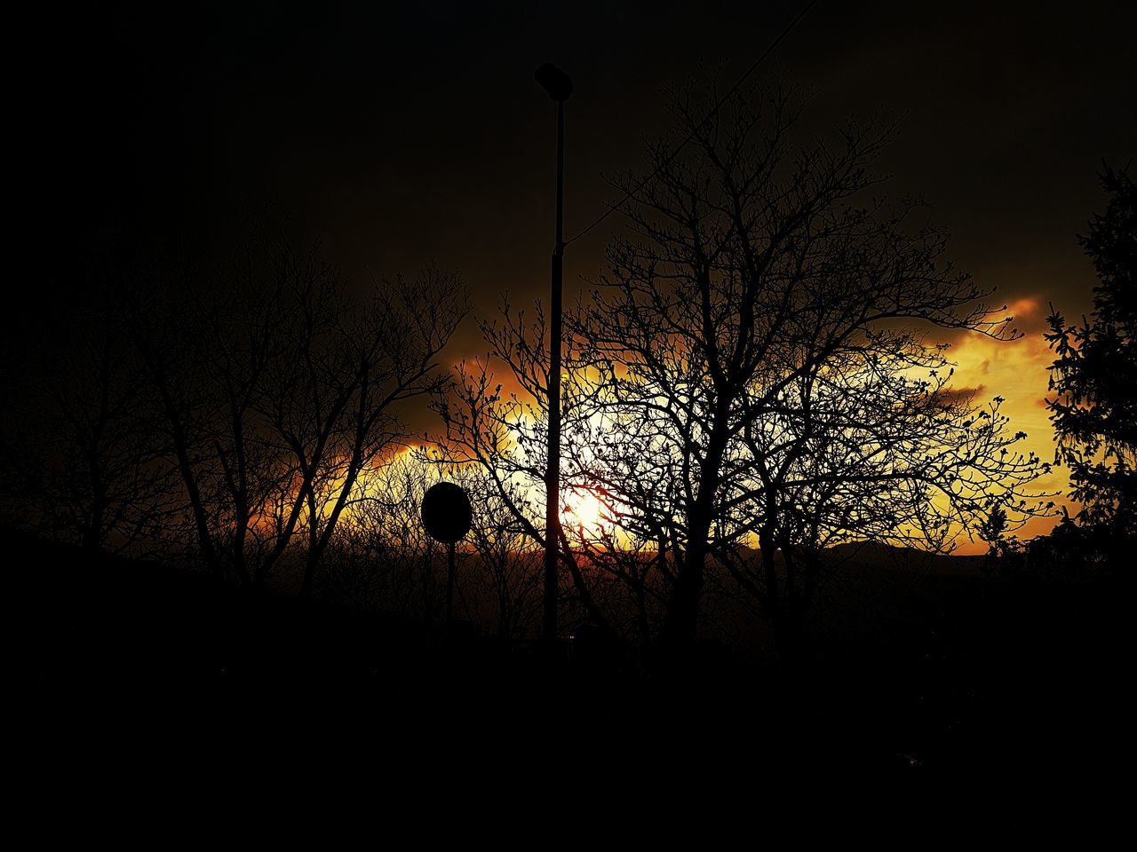 Sunset Sun Orange Contrast Outdoors Tree Nature Sky No People Silhouette Illuminated Day