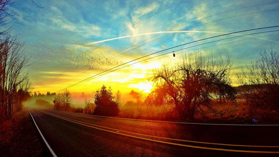 On The Road Sunset Driving Enjoying Life