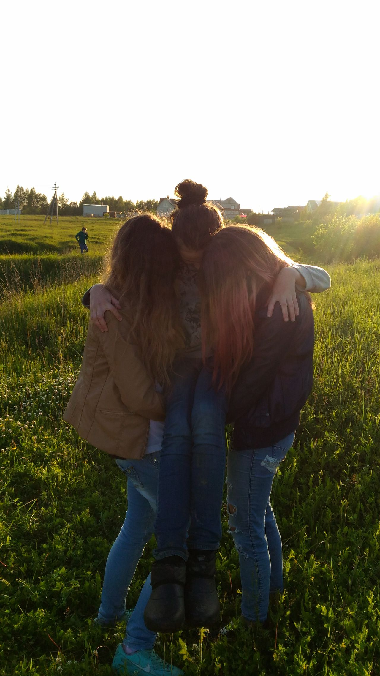 Sun Day Moscow Summer Field Beautiful Nature My Friends And Me Beautiful Girls  3 People 3 Girls 3 Girls Standing Together