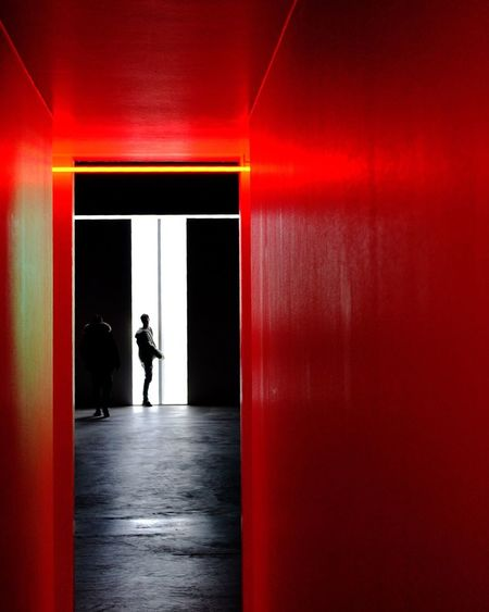 White Red Light Real People One Person Indoors  Full Length Men Lifestyles Architecture