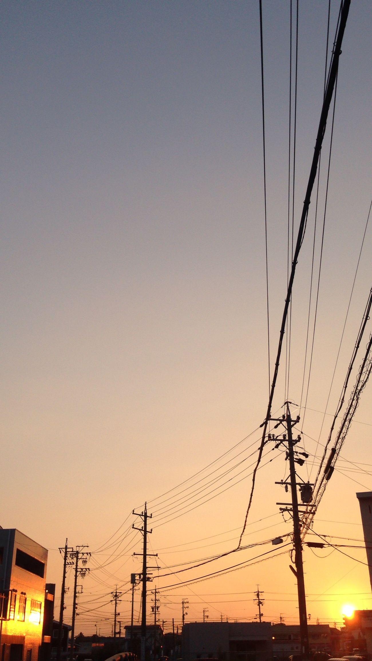 反射する夕陽 夕陽 Sunset 電線 Electric Wire 電柱 Utility Pole 反射 Reflection