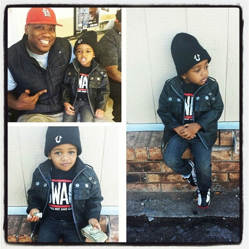 Ran into the homie DoosieMan . He let me get a quick photo shoot in....then Thomas the train came on, and it was a wrap! Lol Igcutestkids Instakids Truereligion Jordan BabySwag