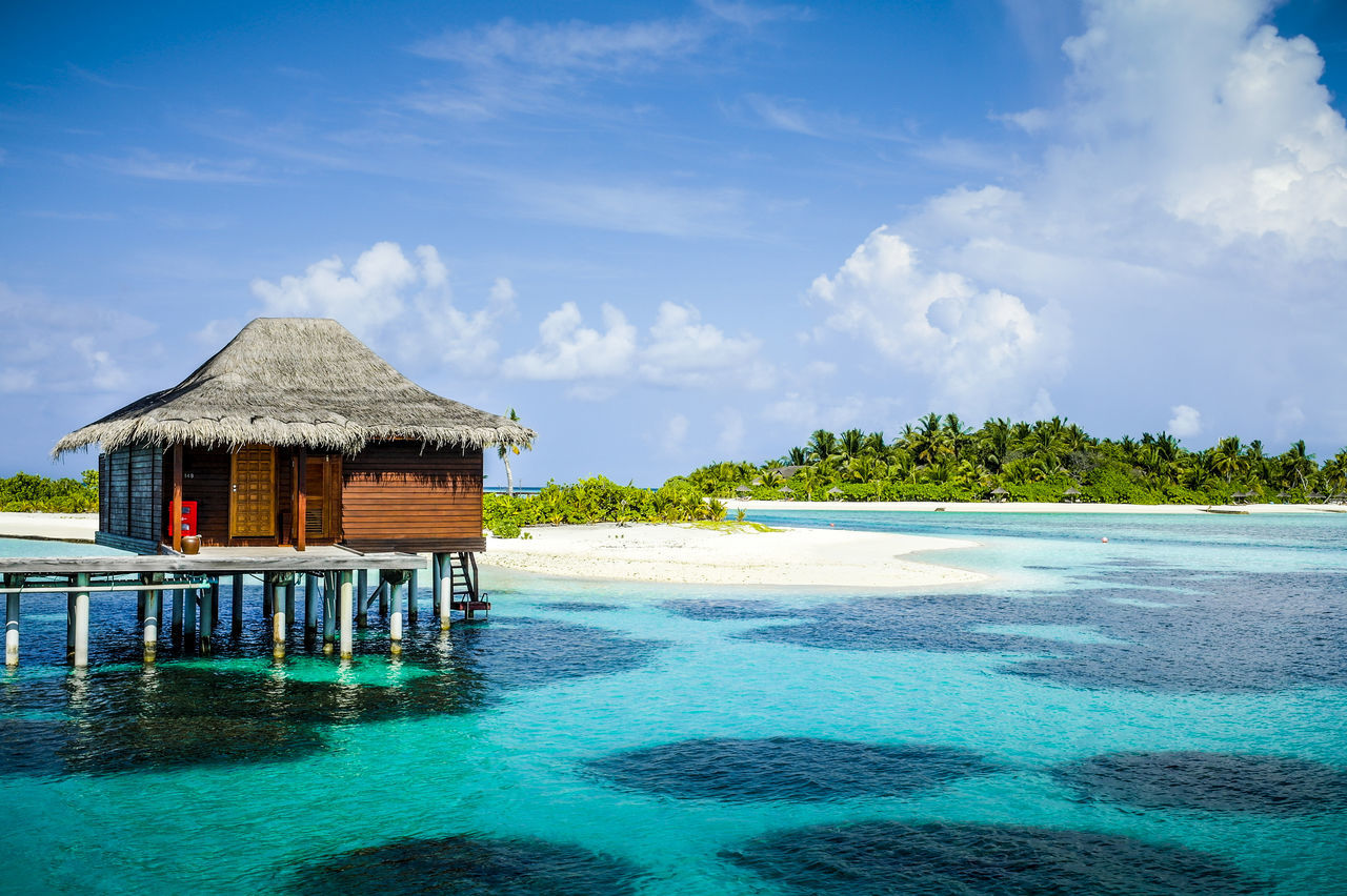 Water Sky Blue Waterfront Urban Skyline Beauty In Nature Day Sealife Maldives Life On The Island Clear Sky Cloud - Sky Big Clouds
