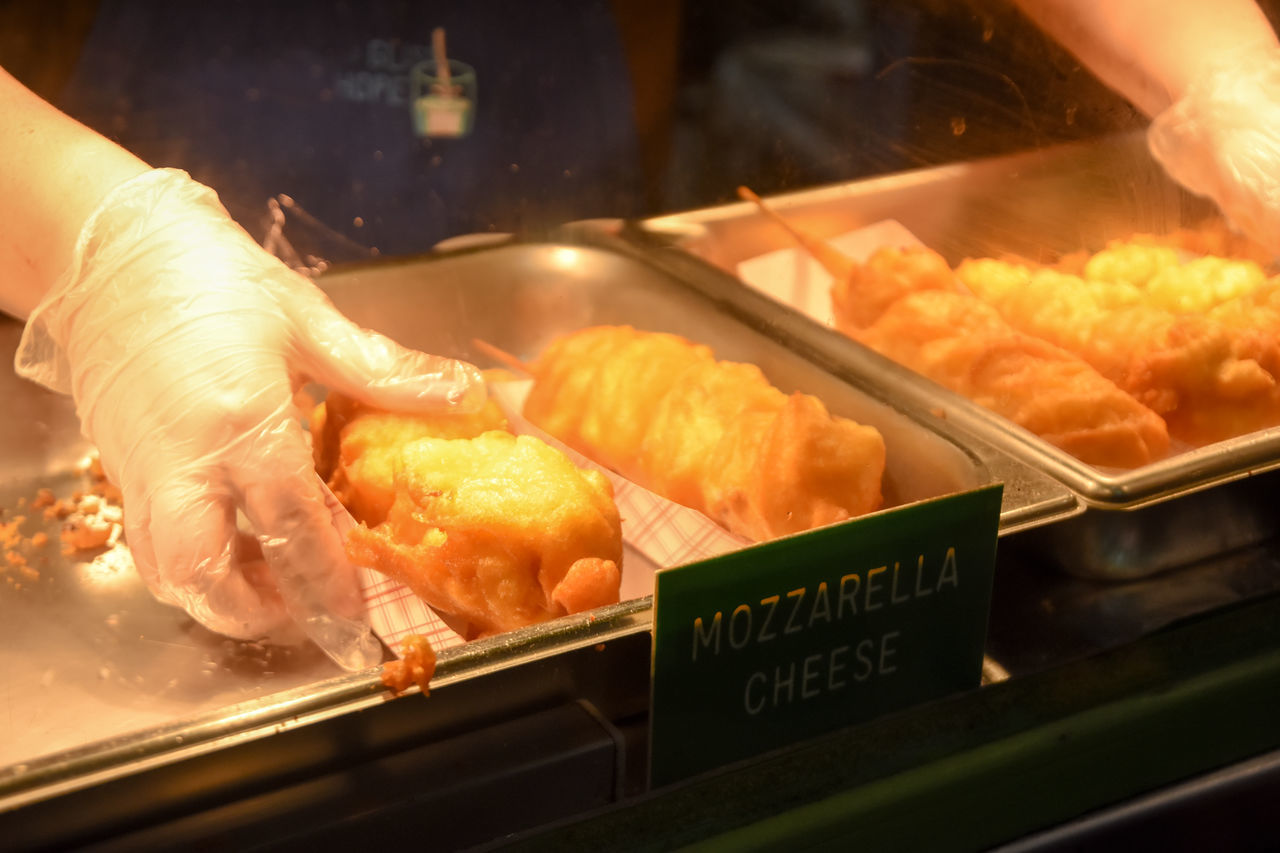 Fried Mozzarella. Bakery Food And Drink Freshness Working Indoors  Heat - Temperature Food Close-up One Person Human Hand Worker Industry Fried Mozzarella Concessions Unrecognizable Person Commercial Food Warmer Food Prep