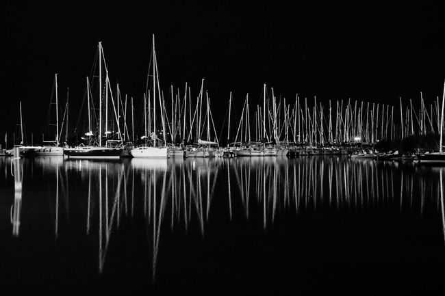 Monochrome Photography Reflection Water Harbor Sea No People Sailboat Yacht Outdoors Horizontal Nature Yachting