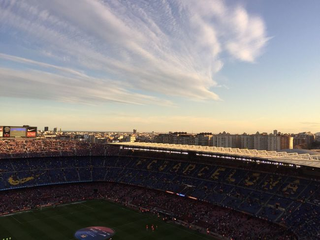 SPAIN Barcelona FCBarcelona  Football Soccer Campnou Cityscape Sky City Noucamp Sunset Capital Cities  Aerial View