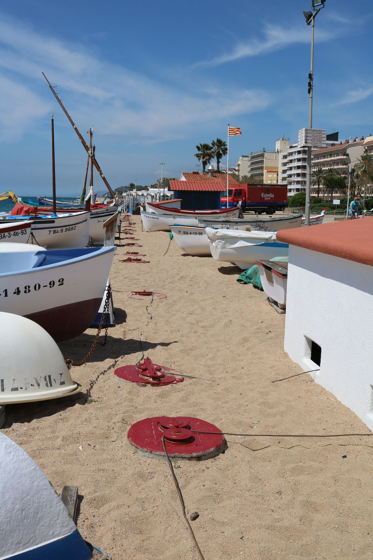 Beach Beachphotography Boats Fishing Boats Flag Flag Pole Huts Sky And Clouds SPAIN
