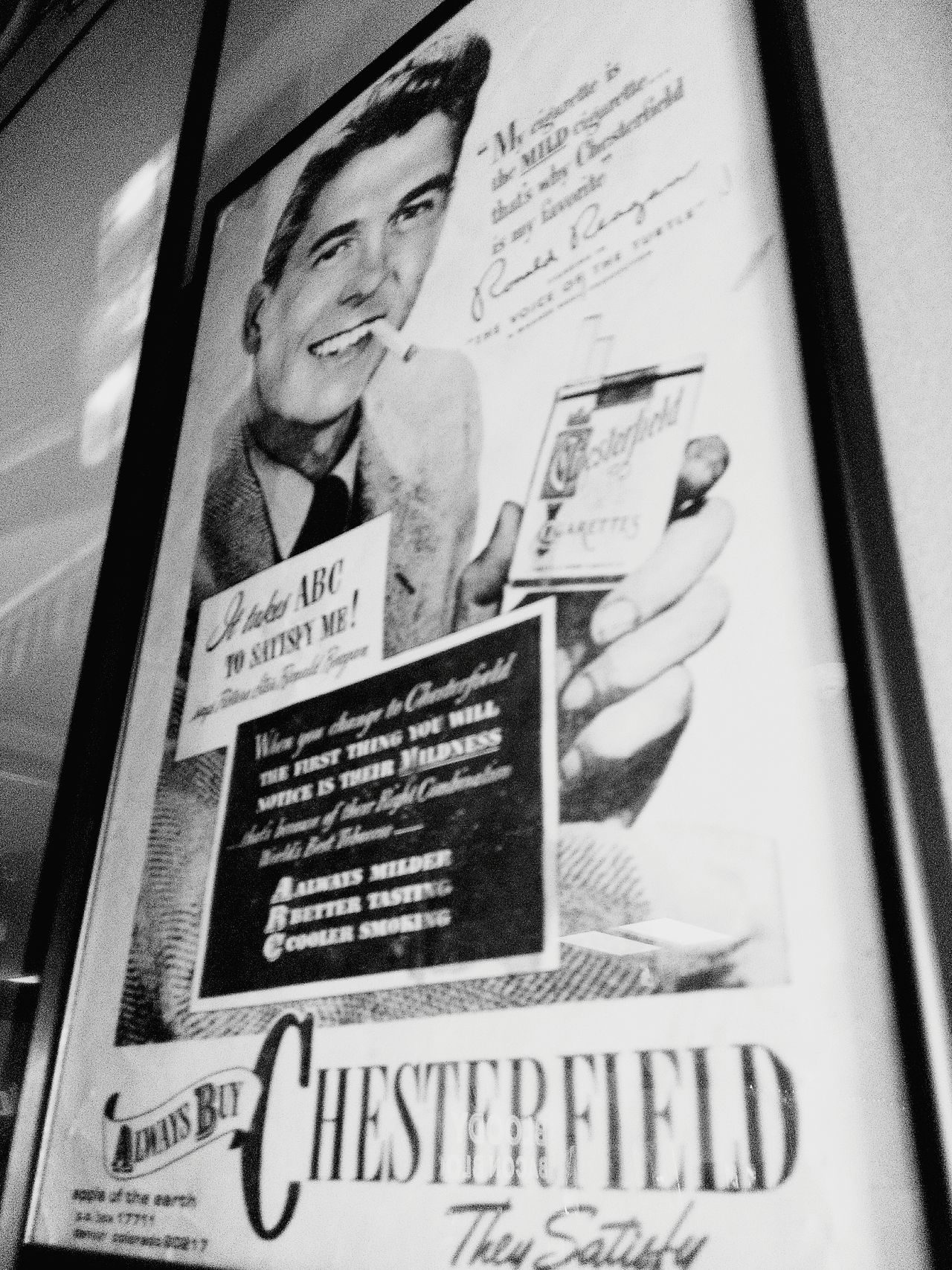 Vintage Vintage Advertising Ronald Reagan  Ciggarette Cigarette Break Cigarette Time Ciggarettes Cigarlovers Fine Art Photography Blackandwhite Black & White Black And White Photography Black And White Blackandwhite Photography HighContrastPhotography Advertisement Posters Advertising Photography Vintage Style Vintage Shopping Advertising Advertisement Ads Ads Photography Vintage Collection Chesterfield chesterfields