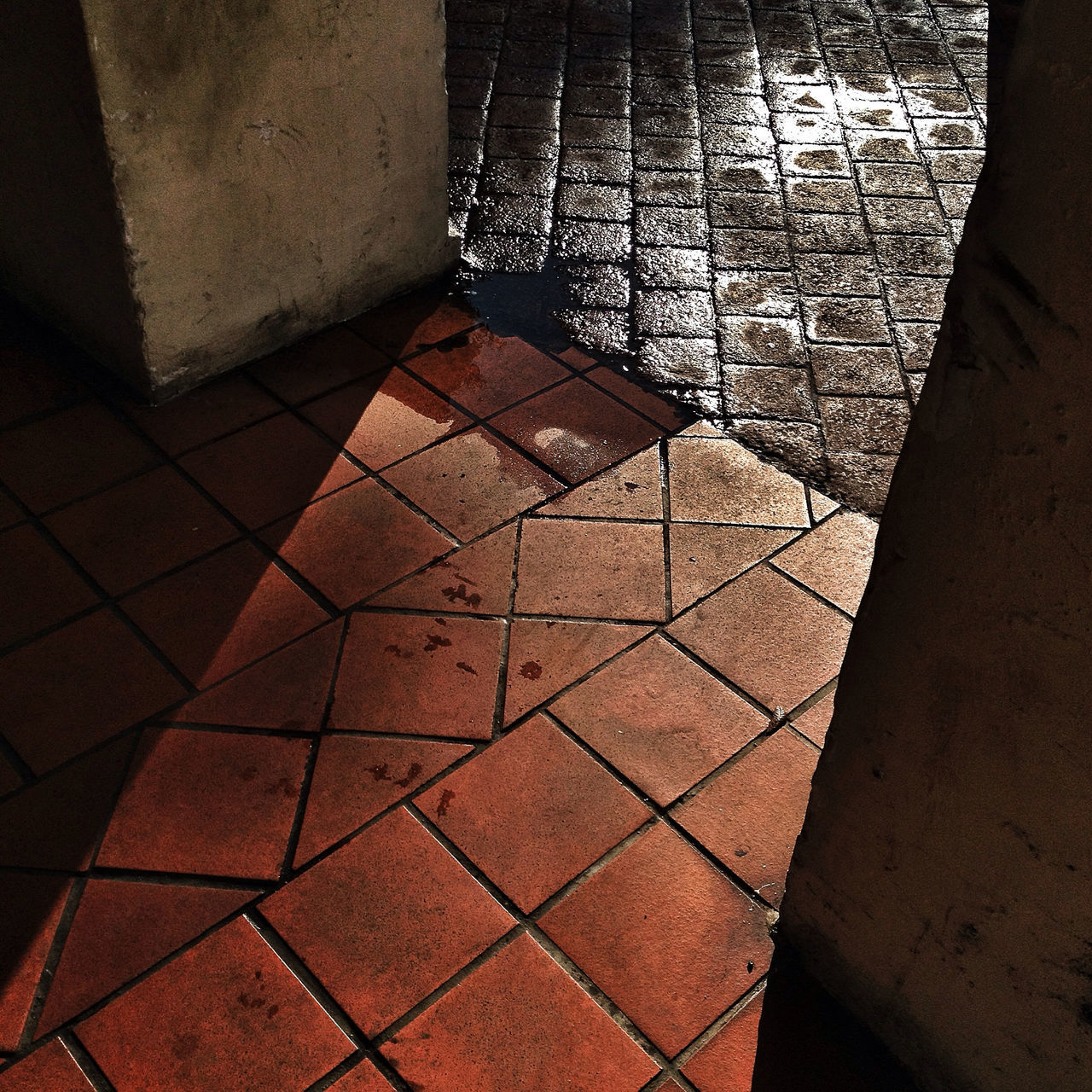 tiled floor, indoors, no people, day, shadow, architecture, close-up