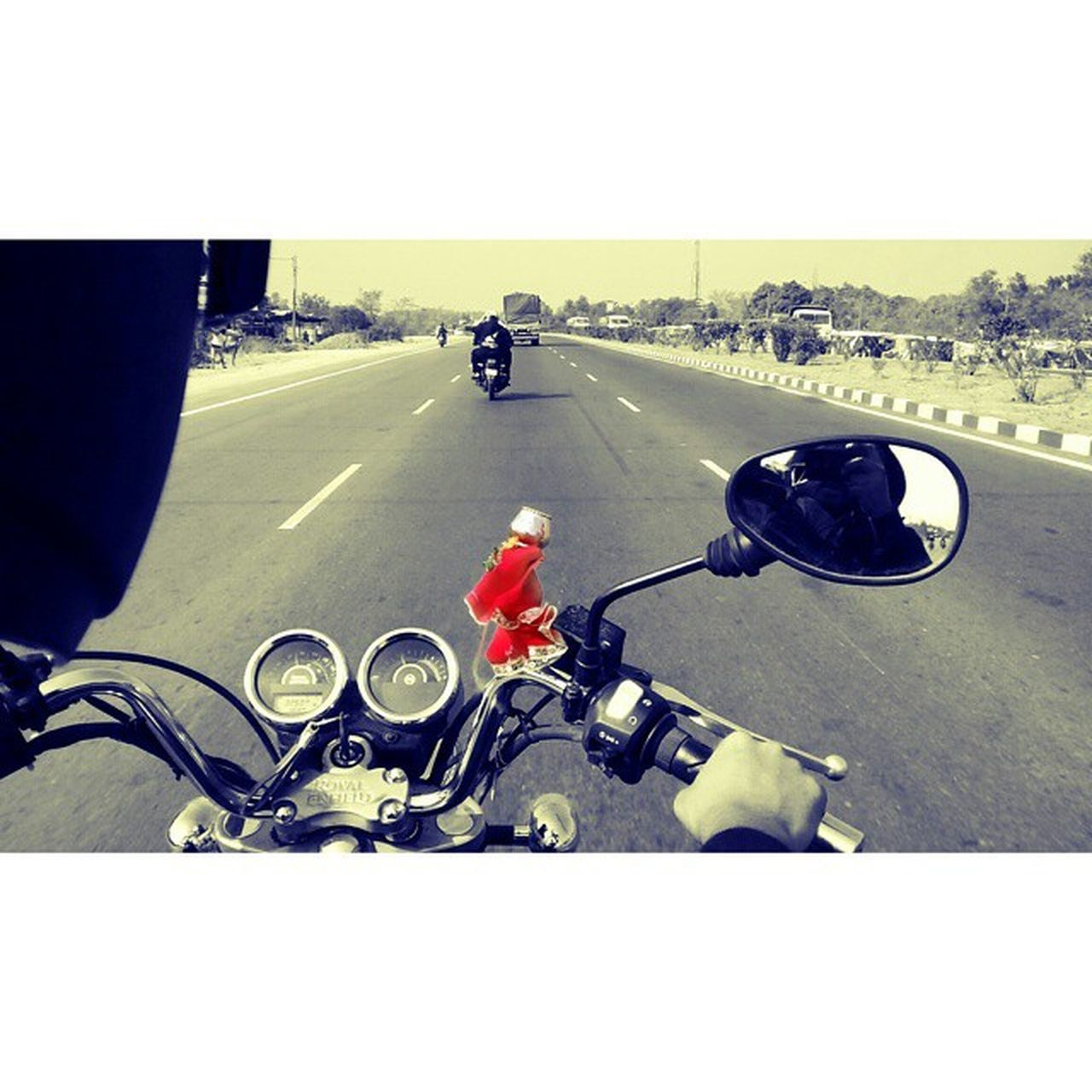 motorcycle, road, transportation, land vehicle, mode of transport, crash helmet, day, riding, helmet, sports race, outdoors, one person, full length, motorsport, biker, one man only, people, adult, sky, only men