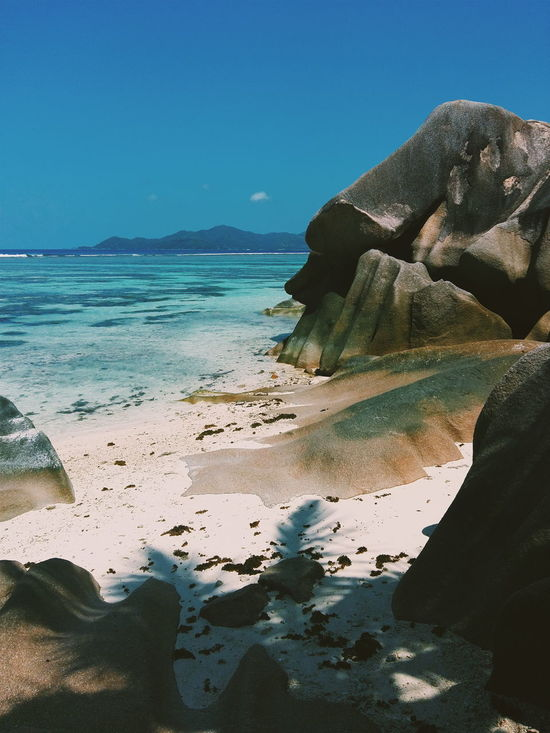 Beach Beauty In Nature Clear Water Day Horizon Over Water Nature No People Outdoors Praslin Sand Scenics Sea Seychelles Tranquility Water White Sand White Sand Beach