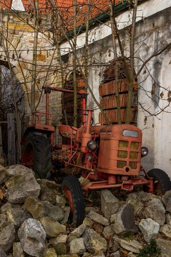 Abandoned Agriculture Day Kleiner Roter Trak Lost Place No People Outdoors Red Tire Tractor