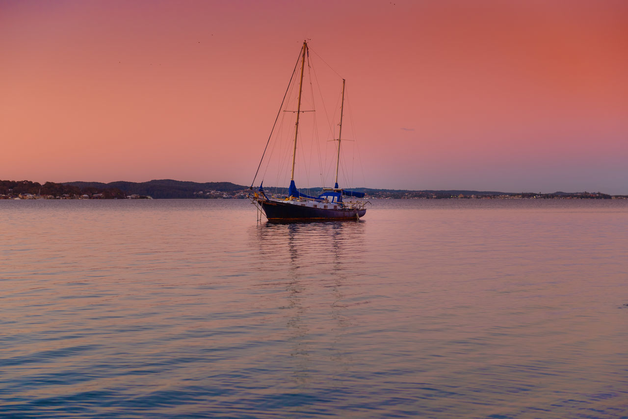 Lake Macquarie Beauty In Nature Day Landscape Mast Nature Nautical Vessel No People Outdoors Romantic Sky Sailboat Sailing Sailing Ship Scenics Sea Sky Sunset Vacations Water Yacht Yachting
