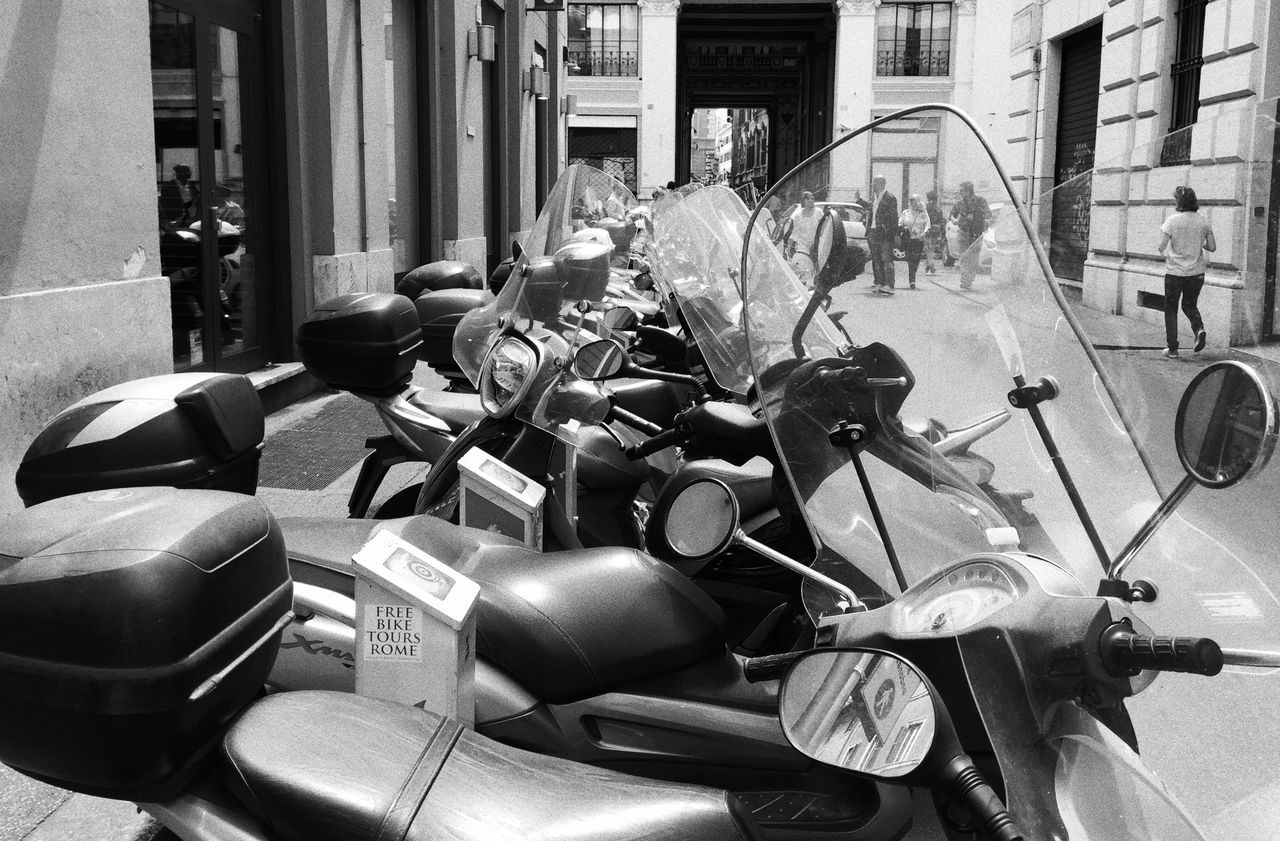Bella Italia Blackandwhite Photography Day Large Group Of Objects Motorcycles Perspective Scooter Vespa