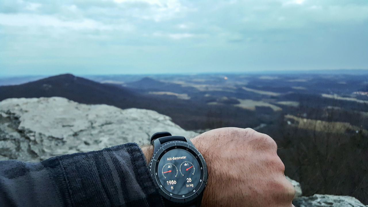 Over it. Human Body Part One Person Personal Perspective Sky Cloud - Sky Real People Mountain Range Mountain Close-up Scenics Day Human Hand Outdoors People Technology Nature Watch Smart Watch Altitude Altimeter Barometer Close Up Technology Pennsylvania Pulpit Rock Depth Of Field Miles Away