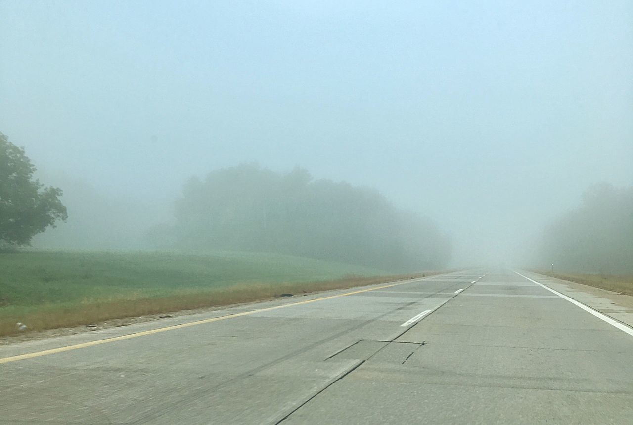 fog, transportation, foggy, weather, the way forward, mist, road, nature, diminishing perspective, outdoors, scenics, day, empty, beauty in nature, landscape, tranquility, no people, hazy, sky, airplane, tree