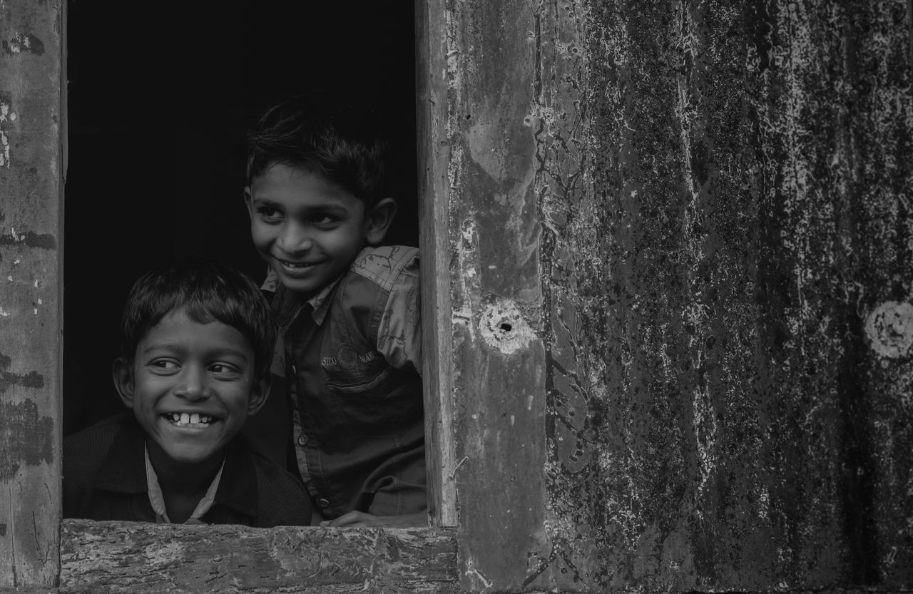Blackandwhite Bnw Boys Cheerful Childrens Portraits Close-up Fineart Friends Happiness Happy Indian Kids Monochrome Playing Posing Potrait Rabbit ❤️ Real People Sightseeing Smile The Week On EyeEm Togetherness Toothy Smile Two People Window