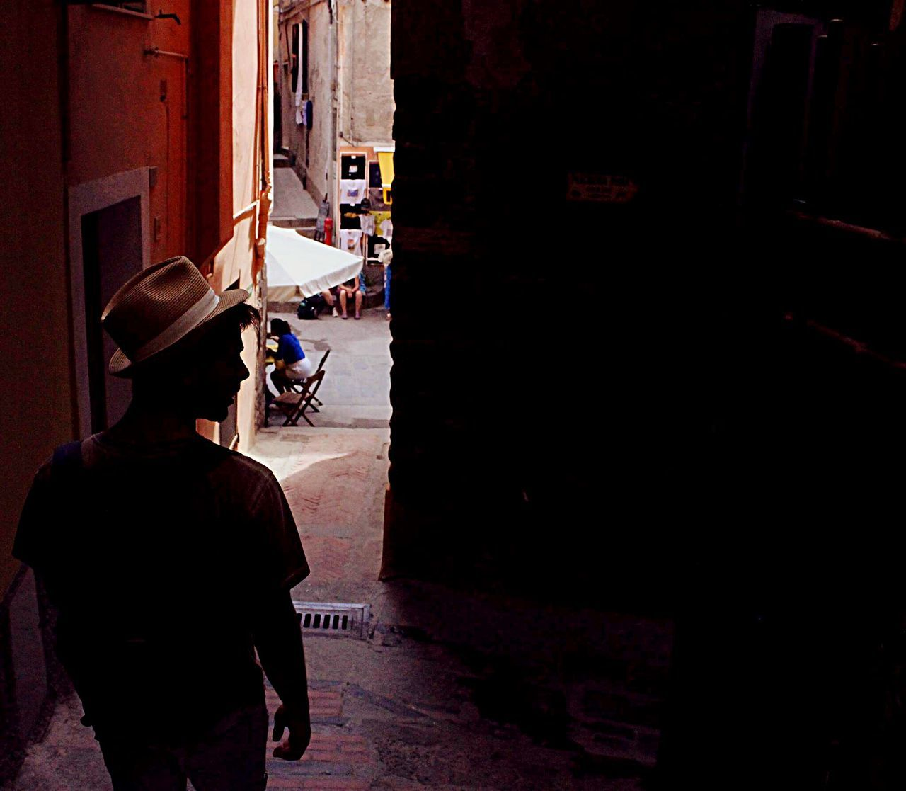 Turning the five lands Rear View One Person Real People City People Adult Adults Only Men Day Outdoors One Man Only Architecture Only Men Musical Instrument Gondola - Traditional Boat EyeEm Best Shots Tranquility Liguria Cinque Terre
