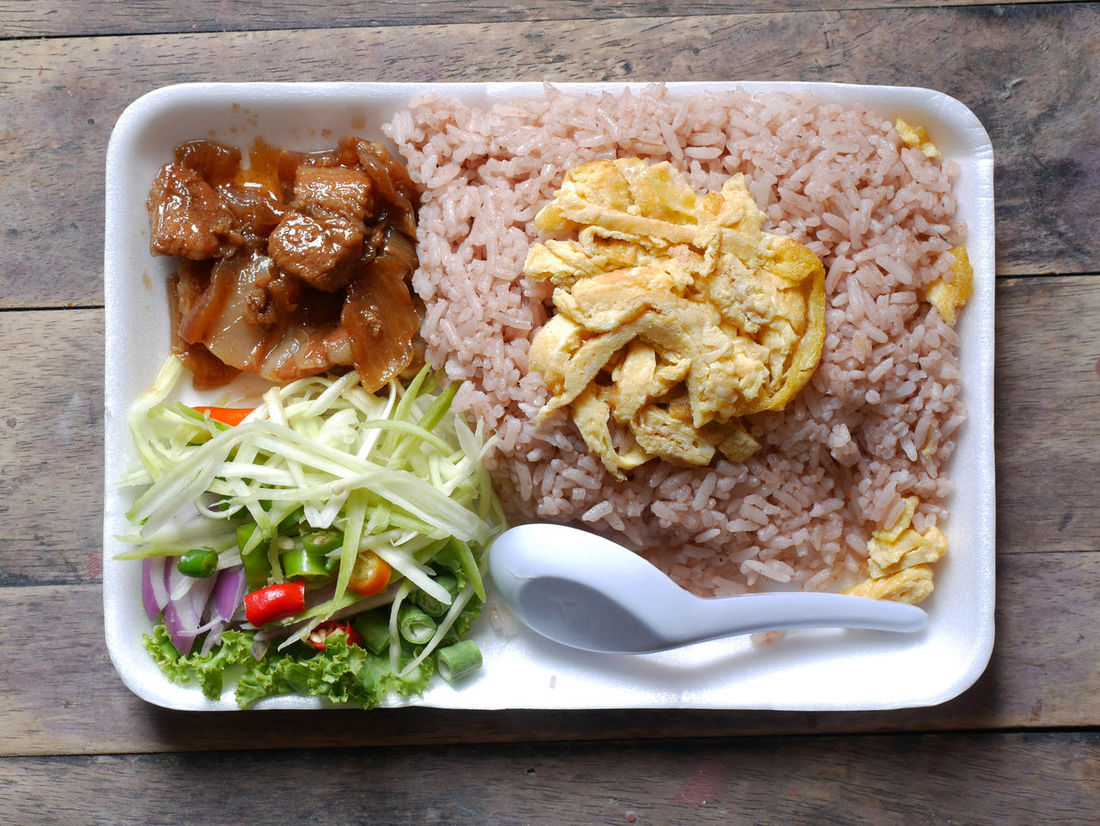 Rice Mixed with Shrimp paste Bowl Close-up Day Food Food And Drink Freshness Healthy Eating Indoors  No People Plate Ready-to-eat Rice Mixed With Shrimp Paste Table