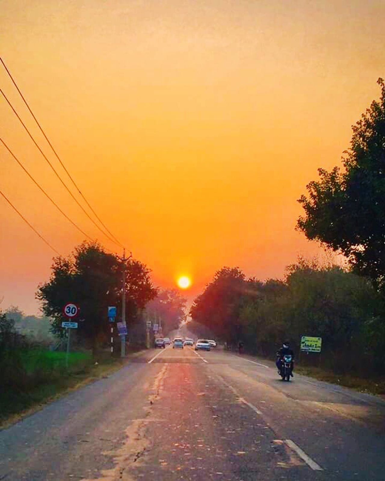 Chandigarh evening Sunset Orange Color Road Tree Street Outdoors Sky City Day