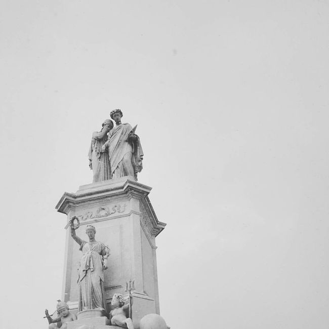DC Black And White Day High Section Historic History Human Representation Low Angle View Memories No People Outdoors Pedestal Sculpture Snow Statue