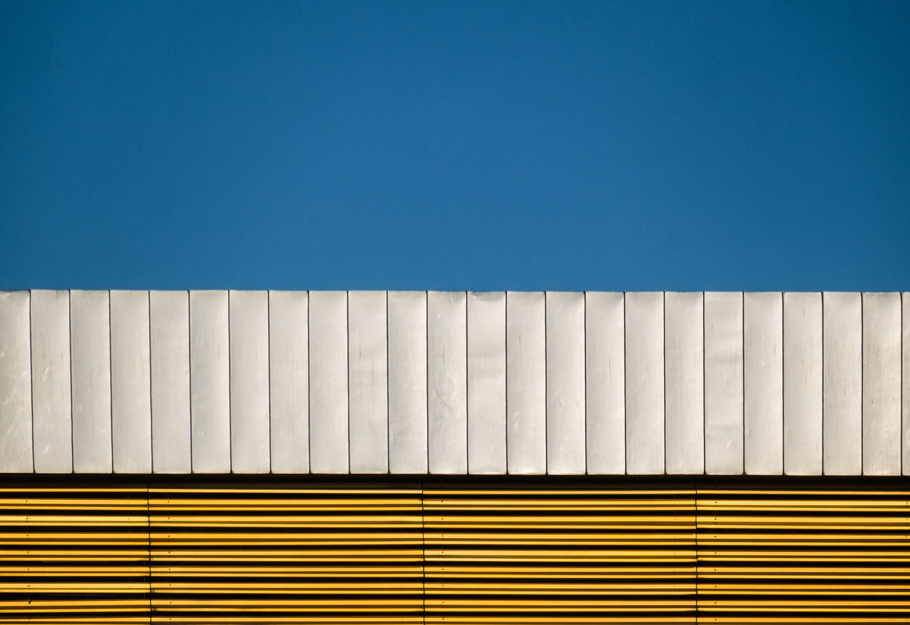 Bluesilvergold Architectural Detail Architectural Feature Architecture Berlin Photography Blue Clear Sky Close-up Copy Space Minimalism Minimalist Architecture Minimalistic Minimalobsession No People Outdoors Pattern, Texture, Shape And Form Simplicity Sky Striped Urbanphotography The Architect - 2017 EyeEm Awards