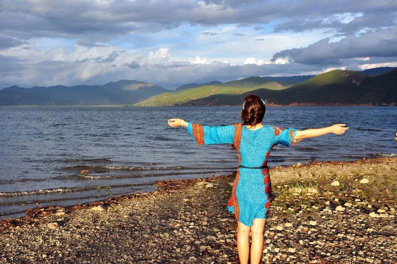 Ethnic Costume Lake Summer Clouds At Lugu Lake. Aug.2013?