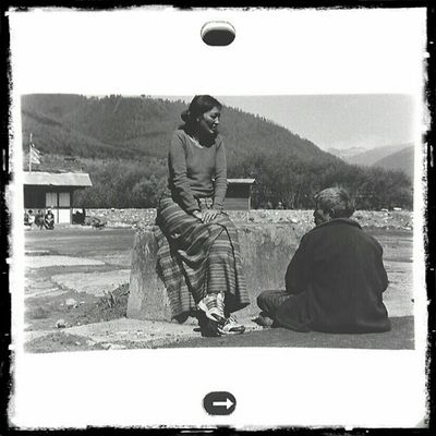 Bus Stop | HAA , Bhutan . 2012 | Fujifilm Neopan400 blackandwhite negatives film viewed through loupe and sgs3. | Leica M6 and trielmar 35mm | busstop bnw bw travel documentary. blackndwhitephotography