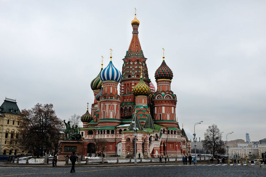 St Basil's Cathedral in Moscow Moscow Russia St Basil's Cathedral Tourist Attraction  Architecture Building Exterior Built Structure City Cloud - Sky Colour Day Dome History Outdoors Place Of Worship Real People Religion Sculpture Sky Spirituality Tourist Destination Travel Destinations Tree
