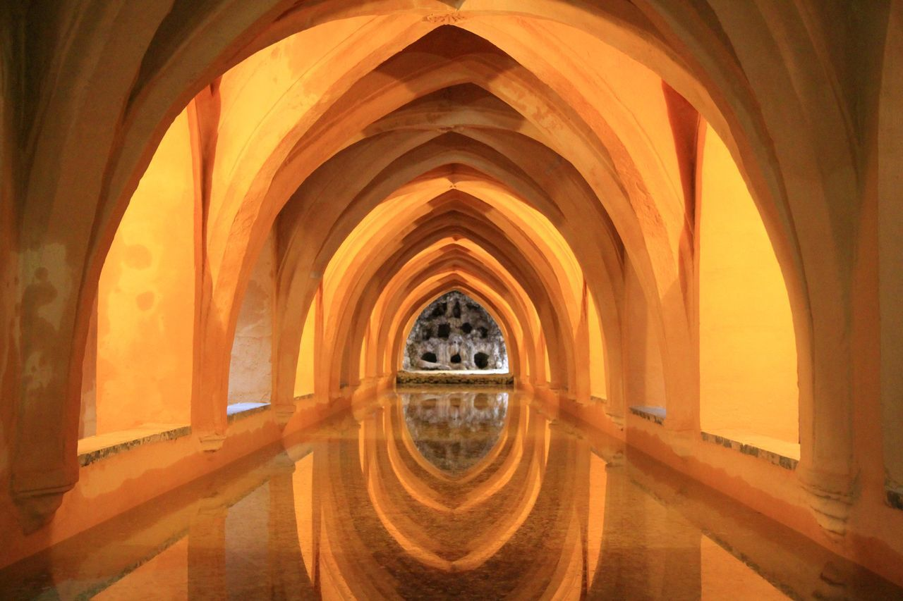 Arabic Bath Arch Architectural Column Architecture Built Structure Day Indoors  No People Sevilla
