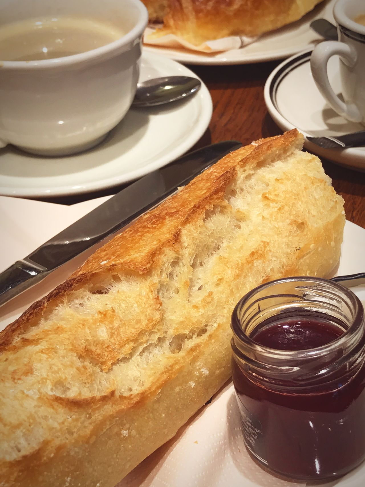 Breakfast Food And Drink Plate Food Coffee Cup Table Ready-to-eat Freshness Coffee - Drink Bread Indoors  Breakfast Sweet Food No People Serving Size Drink Close-up Healthy Eating Sweet Pie Day Baguette Jam Sweet Cafe Traditional