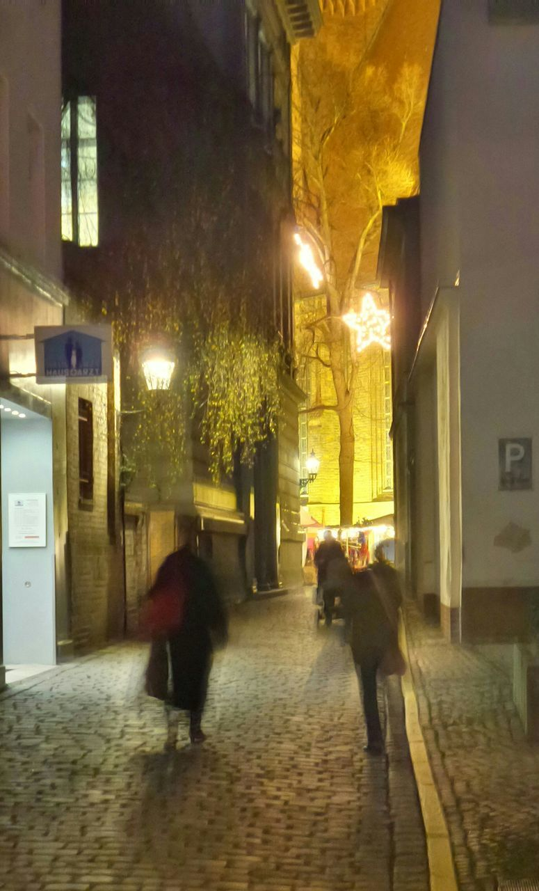 building exterior, architecture, built structure, night, illuminated, walking, real people, full length, street, blurred motion, outdoors, men, mammal, domestic animals, one person, city, people