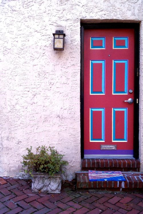 Architecture Building Exterior Built Structure Close-up Closed Colorful Door Day EyeEm Best Shots Fresh On Eyeem  Green House Modern Home Outdoors Philadelphia House Red Red Simplicity Tiled Floor Vibrant Color Wall Wall - Building Feature Window
