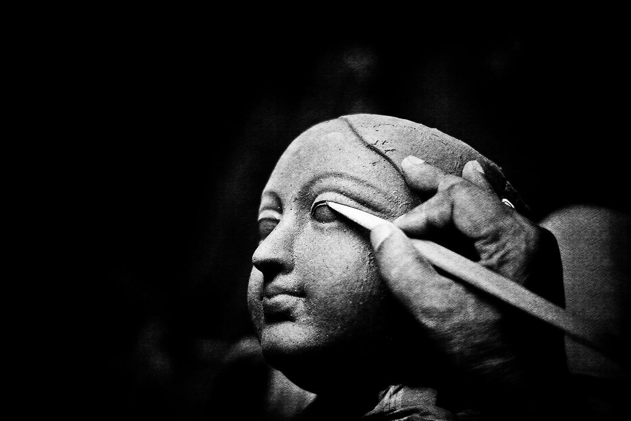 Calcutta India CalcuttaInstagrammers Durga Puja 2016 In India Shade Of Grey Black And White Black Background Calcuttadiaries Close-up Dur Potrait_photography Sculpture Statue