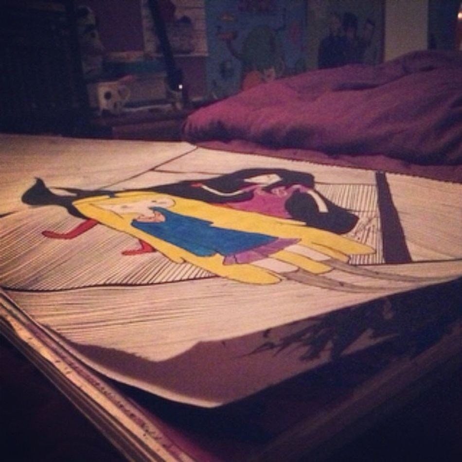 Finished my version of Princess Bubblegum and Marceline Art Adventuretime Princessbubblegum Marceline Pb