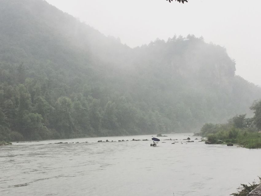 By Lee Fog Mountains River Fisherman