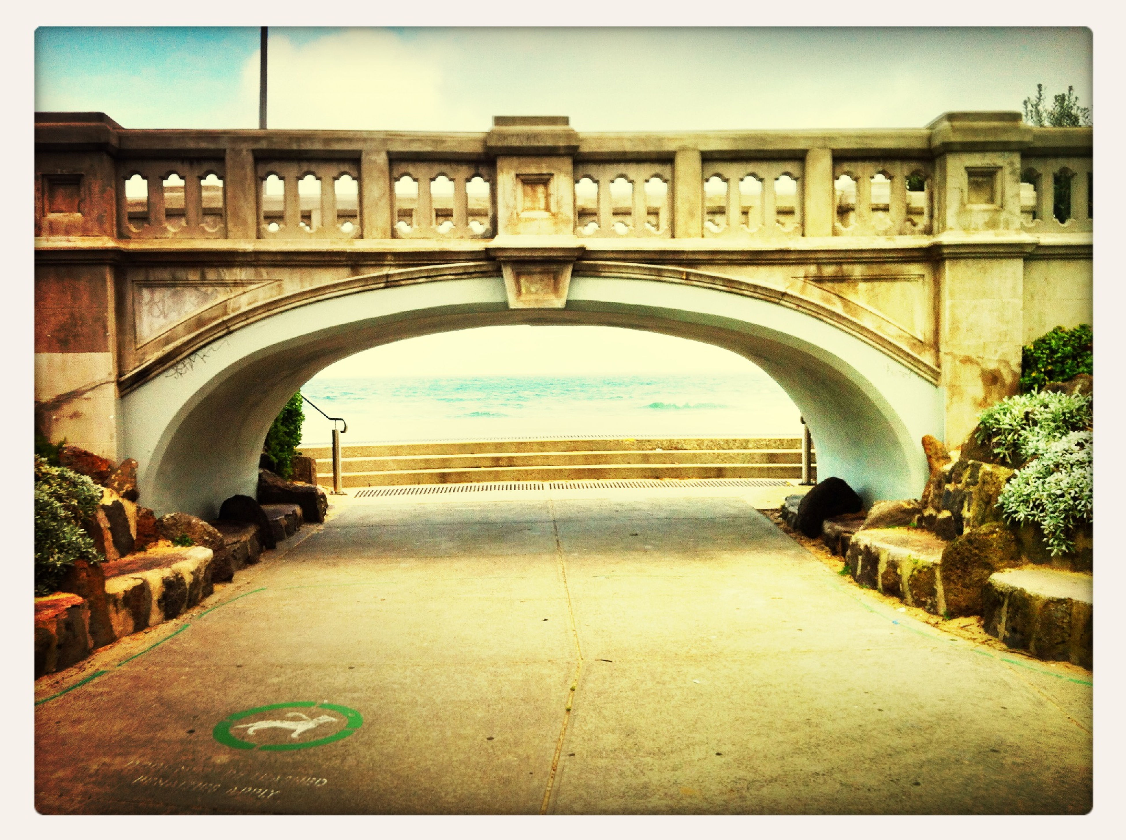 architecture, built structure, arch, transfer print, building exterior, auto post production filter, connection, bridge - man made structure, water, railing, day, bridge, no people, sky, outdoors, clear sky, arched, architectural column, sunlight, building