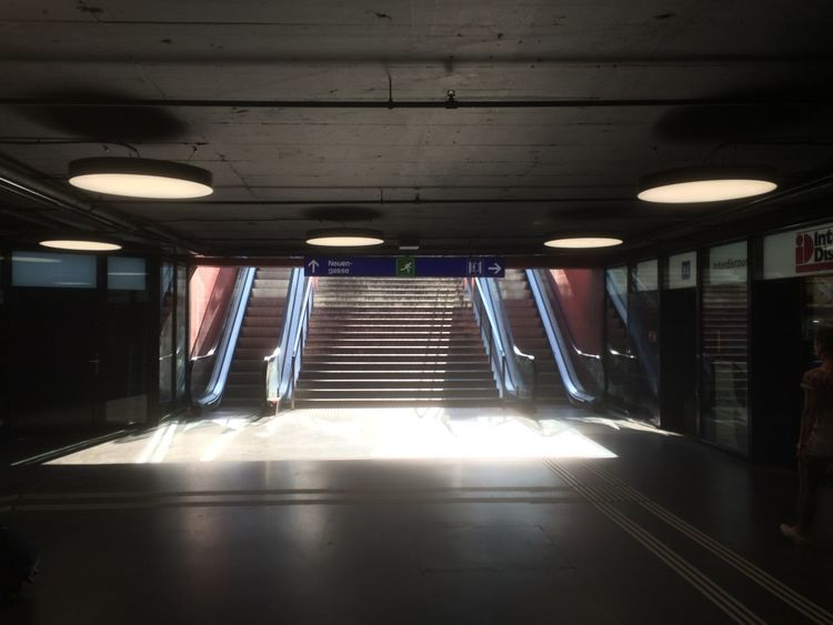 Early morning in the station, still waiting for the rush hour to arrive. Creative Light And Shadow Subway Underground Sun Escalator Exit