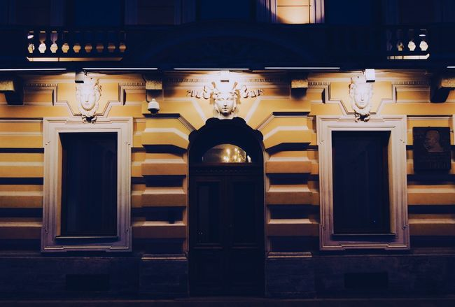 Stpetersburg Architecture Night No People Façade Illuminated Art And Craft Creativity City Petersburg Windows Geometric Shape