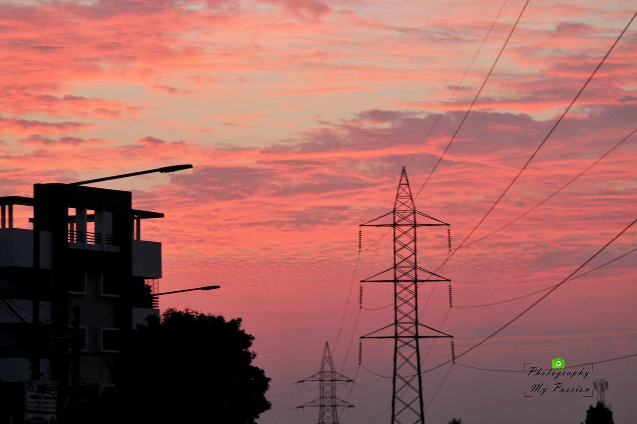 sunset, sky, connection, cable, silhouette, built structure, low angle view, orange color, cloud - sky, electricity pylon, no people, outdoors, architecture, power line, electricity, building exterior, fuel and power generation, technology, nature, tree, day