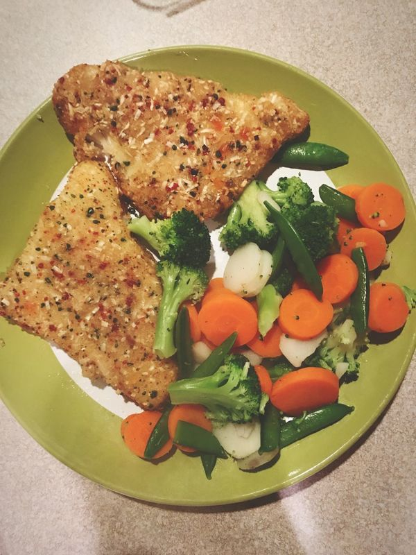 Food Plate Healthy Eating No People Freshness Fish Talapia Vegetables Close-up Ready-to-eat