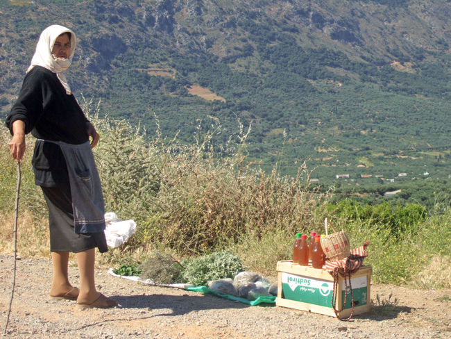 Woman with herbs and spices For Sale Goods Greece GREECE ♥♥ Greek Herbs Kreta Old Woman Poor  Sale Saleswoman Spices
