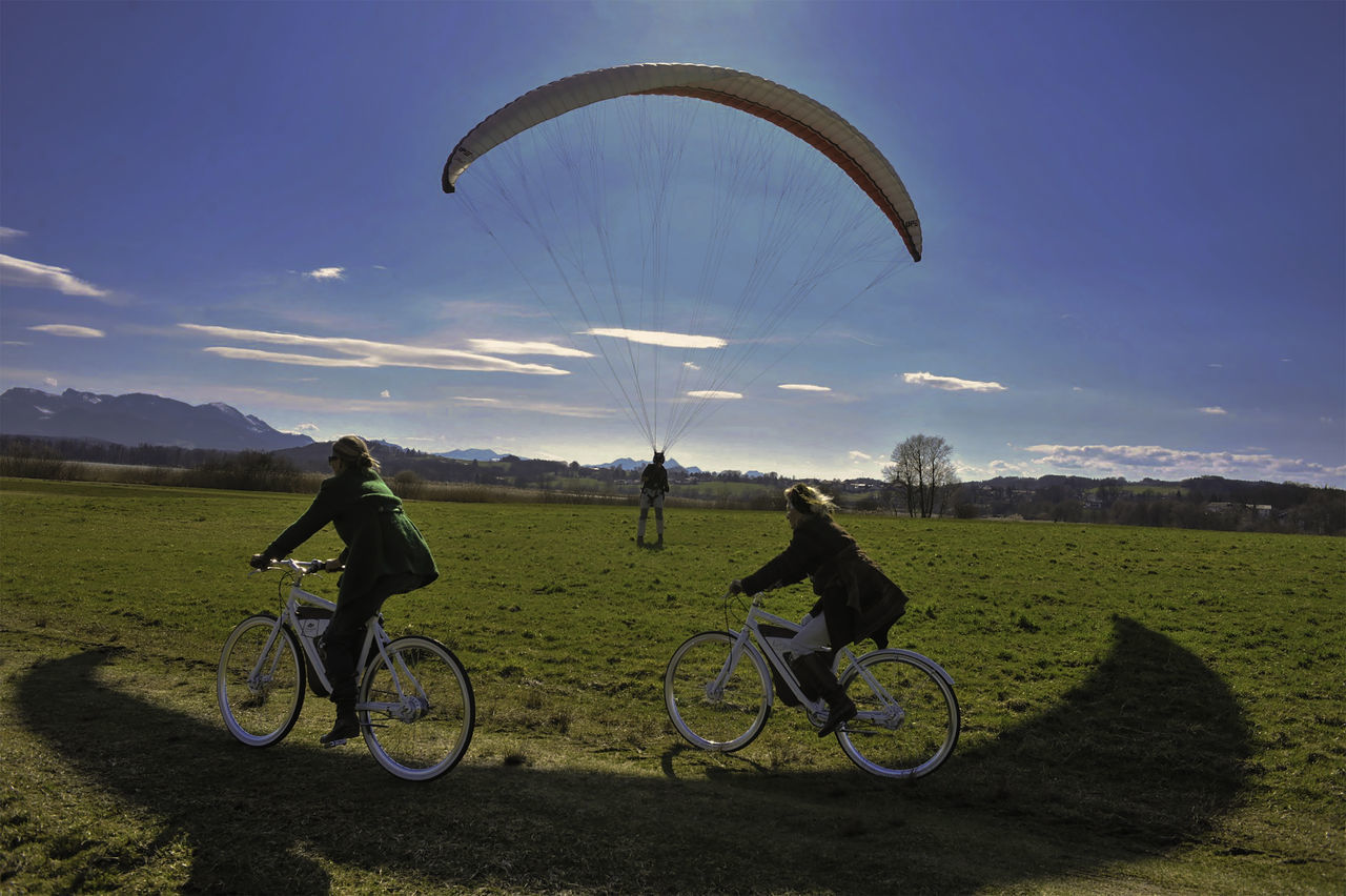 EBIKE Adventure Beauty In Nature Chiemsee Summer Ebikes Flying Freedom Landscape Outdoors Paragliding