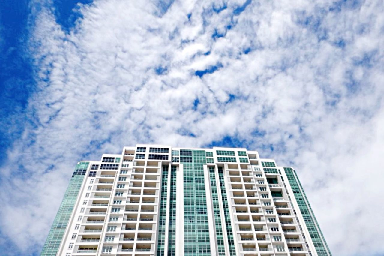 architecture, low angle view, sky, building exterior, cloud - sky, built structure, modern, no people, skyscraper, day, outdoors, city, apartment
