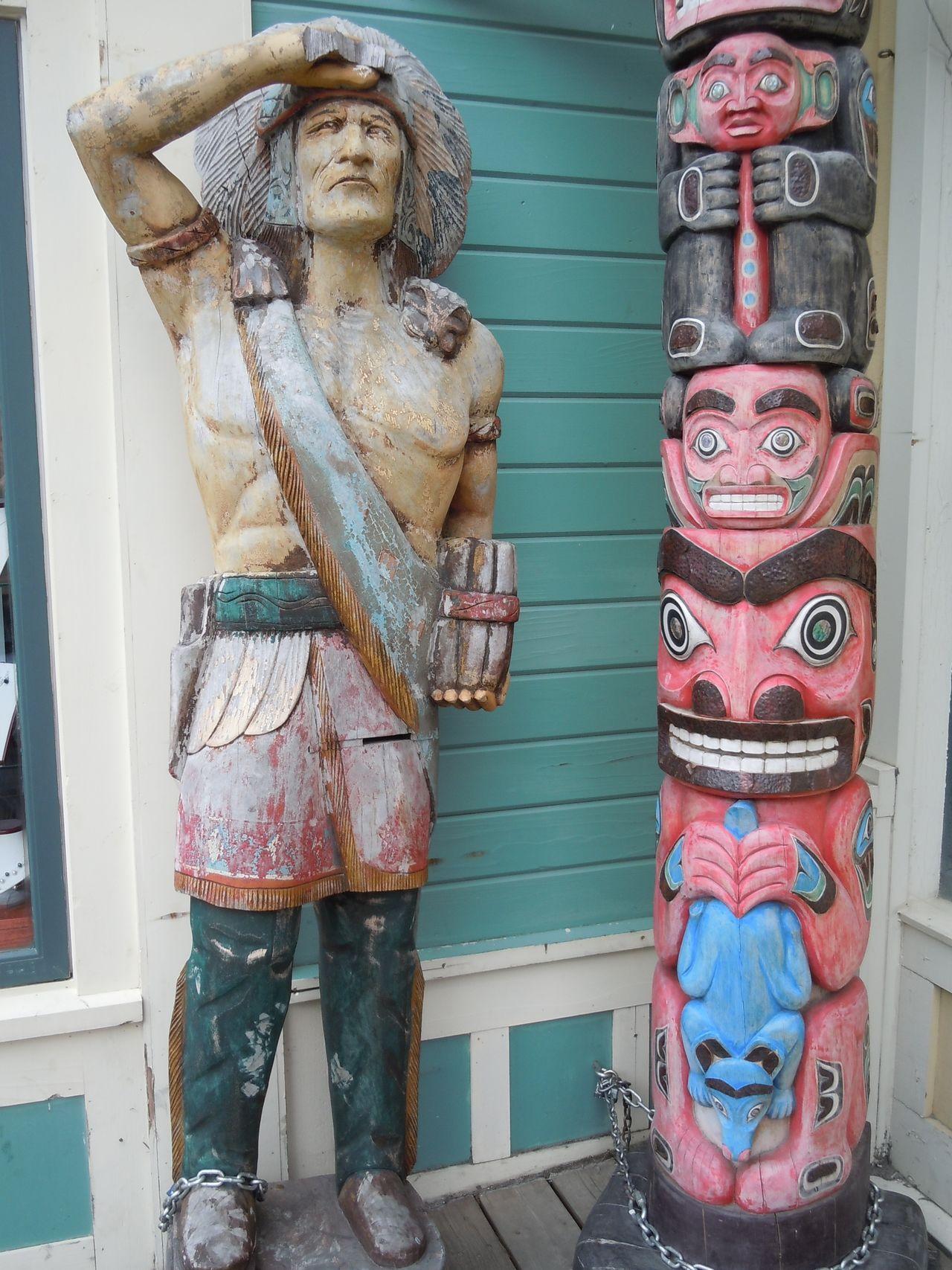 Totems in Alaska Alaska Carving - Craft Product Sculpture Statue Totem Totems Wooden Indian