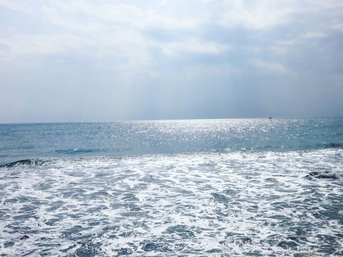 scorching sun in the middle of the bay of bengal... Bay Of Bengal Beach Coastline Distant Horizon Over Water Ocean Outdoors Power In Nature Rippled Sand Sea Seascape Seaside Shore Sky Summer Sunshine Surf Tranquil Scene Vacation Vacations Water Wave Tadaa Community Tamilnadu