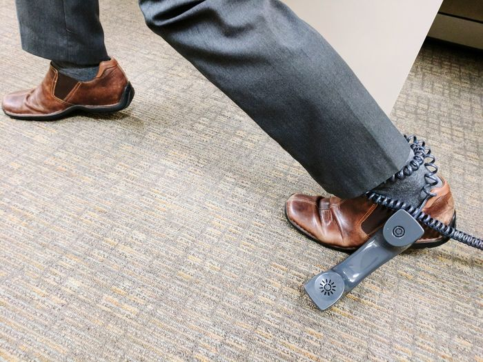 Shoe Human Leg Indoors  Work Phone Trapped At Work can't leave Cord Office Stuck